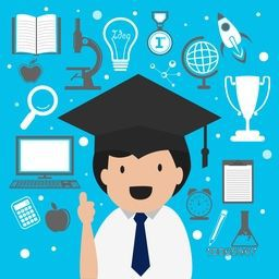 Creative illustration of a graduation boy with school objects, items and elements on sky blue background.