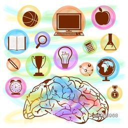 Colorful glossy creative educational elements with illustration of a brain.