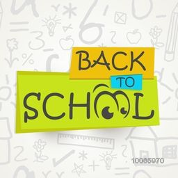 Stylish creative text Back to School with funny eyes on educational elements decorated background.
