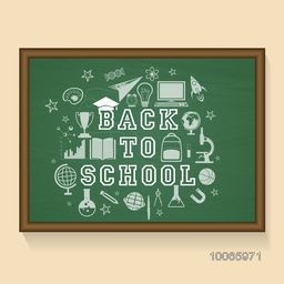 Creative stylish text Back to School with various educational elements created by white chalk on green chalkboard background.