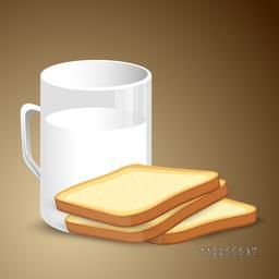Mug with milk and breads on shiny brown background.