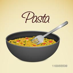 Delicious pasta in a bowl with fork on shiny background.