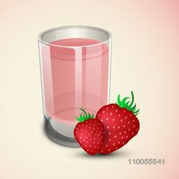 Fresh strawberries with juice glass on shiny background.
