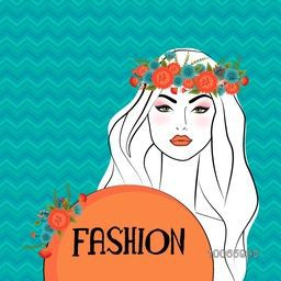 Young gorgeous beautiful girl wearing wreath with stylish colorful text Fashion on seamless background.