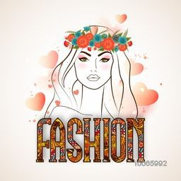 Young gorgeous beautiful girl wearing wreath with stylish colorful text Fashion on glossy hearts decorated background.