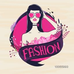 Retro young fashionable girl with heart shaped sunglasses on stylish background. Can be used as sticker, tag or label for Retro design.