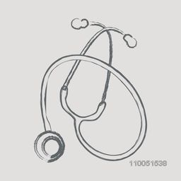 Sketch of a stethoscope on grey background.