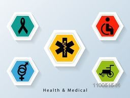 Different medical signs and symbols with stylish text on blue background.