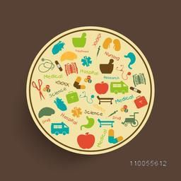 Rounded stickers with medical signs, symbols and equipments with names on brown background.