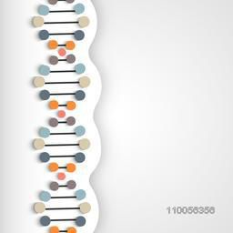 Structure of colourful DNA on shiny grey background.