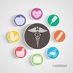 Creative colorful symbols for Health and Medical concept.