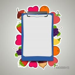 Illustration of a prescription letter pad on fruits decorated background.