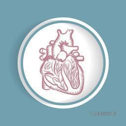 Structure of human heart in glossy frame on blue background.