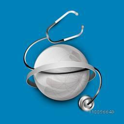 Illustration of a shiny globe covered by stethoscope on blue background.