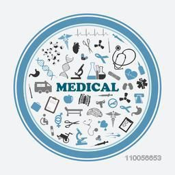 Rounded frame with medical signs, symbols equipments, human cells, heart beat and DNA on white background.