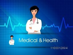 Illustration of female doctor on cardiogram background for Health and Medical concept.