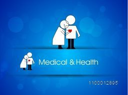 Health and Medical concept with illustration of doctor and patient on blue background.