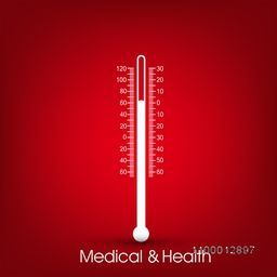 Creative thermometer on shiny red background for Health and Medical concept.
