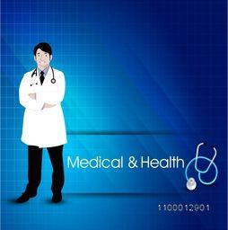Illustration of a doctor on shiny blue background for Health and Medical concept.