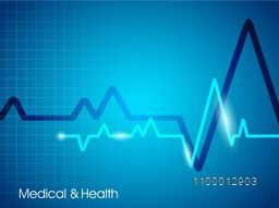 Creative heart beat cardiogram on shiny blue background for Health and Medical concept.