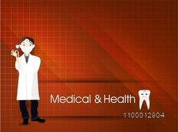 Illustration of a dentist on shiny abstract background for Health and Medical concept.