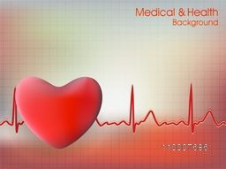 Cardiogram with red heart shape for Health and Medical concept.