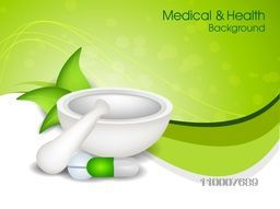 Creative mortar and pestle with medicines for Health and Medical concept.