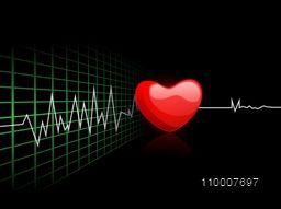 Cardiogram with red heart shape on black background.