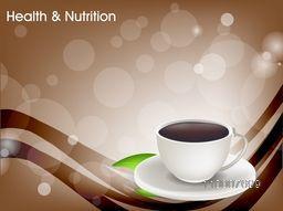 Health and Nutrition concept with a cup of tea on abstract background.