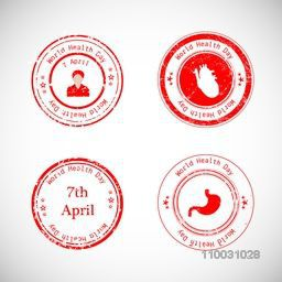Abstract world health day concept with red stamps on grey background.