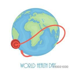 Abstract world health day concept with globe on grey background.