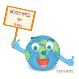 World Health Day concept with creative funny globe holding board.