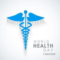 Abstract world health day concept with medical symbol on grey background.