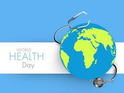 Abstract world health day concept with globe on blue background.