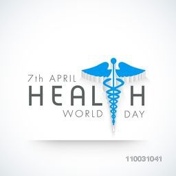 Abstract world health day concept with medical symbol and stylish text on grey background.