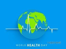 Abstract world health day concept with globe and heart beat on blue background.