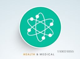 Abstract world health day concept with molecular icon on blue background.