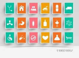 Abstract world health day concept with medical icons on grey background.