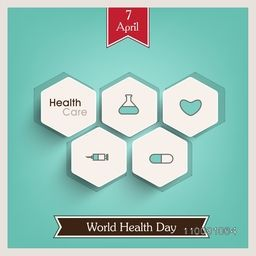 Abstract world health day concept with stickers on green background.