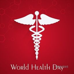 Abstract world health day concept with medical symbol on red background.
