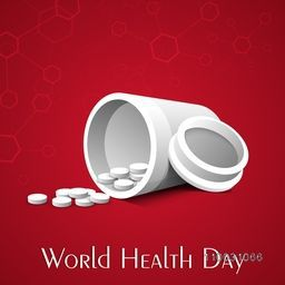 Abstract world health day concept with medical pills on red background.