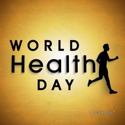 Abstract world health day concept with stylish text and black silhouette of young guy running on brown background.