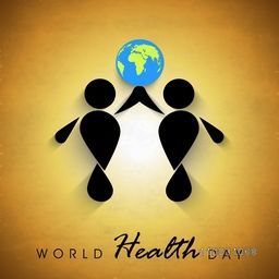 Abstract world health day concept with globe and black silhouette of peoples on brown background.
