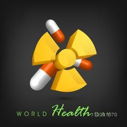 Abstract world health day concept with medical pills on grey background.