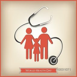 Abstract world health day concept with healthy family under stethoscope on brown background.