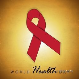 Abstract world heath day concept with red ribbon on shiny brown background.