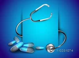 Abstract world heath day concept with pills and stethoscope on shiny blue background.