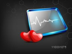 Abstract world health day concept with red hearts and heart beats on grey background.