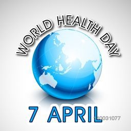 Abstract world health day concept with blue globe and stylish text on grey background.