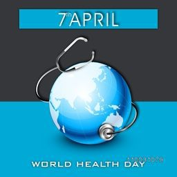 Abstract world health day concept with globe on blue and grey background.